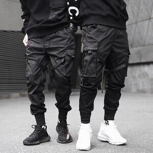 Image 1 - Men Ribbons Color Block Black Pocket Cargo Pants 2020 Harem Joggers Harajuku Sweatpant Hip Hop Trousers