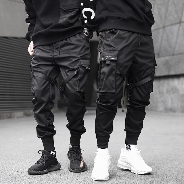 Men Ribbons Color Block Black Pocket Cargo Pants 2020 Harem Joggers Harajuku Sweatpant Hip Hop Trousers