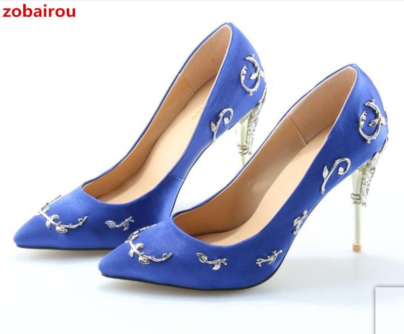 4f42609645b81 Zobairou Sapatos Mulher Pointy Toe Stunning Wedding Shoes Woman Filigree Leaves  Metal Heel Eden Pumps Bridal Satin High Heels
