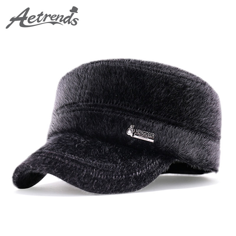 [AETRENDS] Vintage Flat Fur Hats Winter   Baseball     Cap   Men's   Caps   with Ears Dad Hat Petten Mannen Mens Accessories 2018 Z-3986