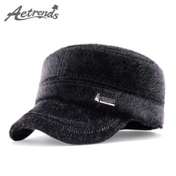 f84de9b0542c [AETRENDS] sombrero de invierno para papá 100% sombreros militares de cuero  genuino para hombres ...