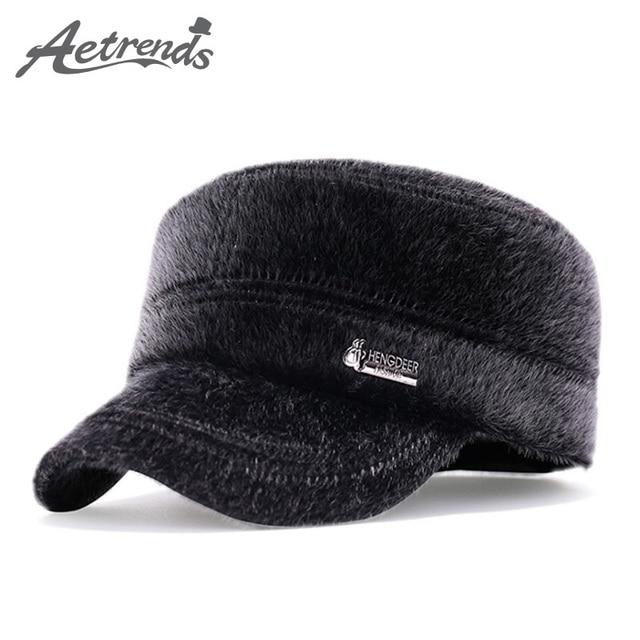8aadee6cb1782  AETRENDS  Vintage Flat Fur Hats Winter Baseball Cap Men s Caps with Ears  Dad Hat Petten Mannen Mens Accessories 2018 Z-3986