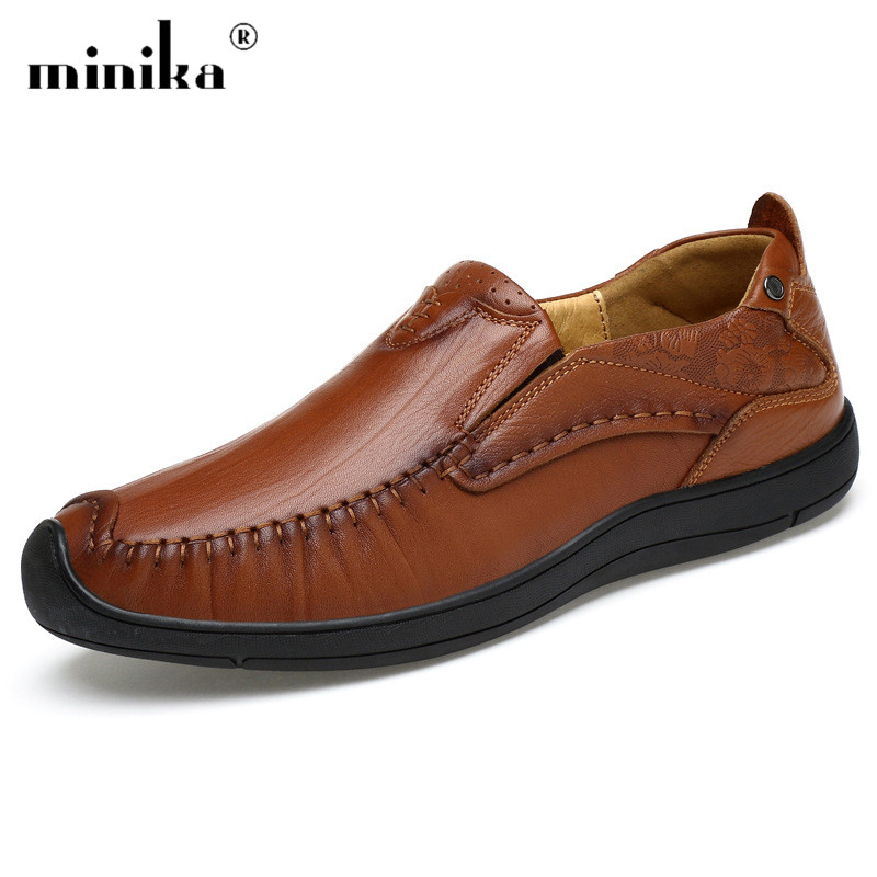 Men's Sneakers Genuine Leather Lace-up Men Loafers British Handmade Breathable Flats Casual Boat Driving Shoes brand new fashion summer spring men driving shoes loafers pu leather boat shoes breathable male casual flats loafers big size