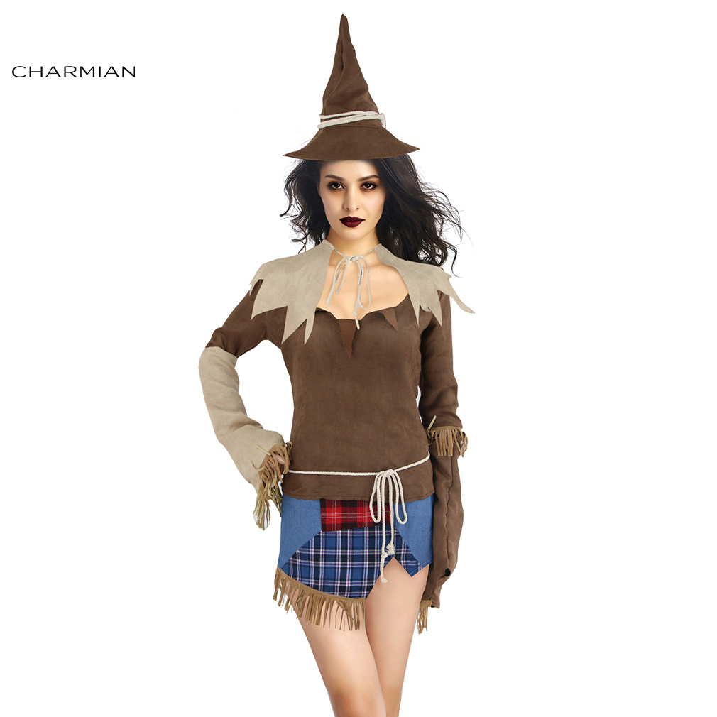 Charmian Sexy Creepy Scarecrow Min Dress Adult Costumes Sexy Halloween Cosplay Costume -4417