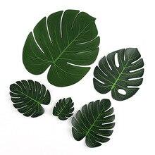 12 unids/lote hojas de palma de Monstera Artificial verde para decoración de fiesta temática hawaiana Tropical suministros para fiestas de cumpleaños y bodas