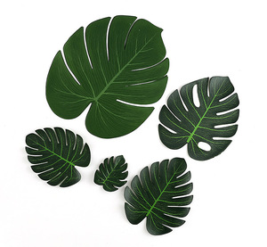 12pcs/Lot Green Artificial Monstera Palm Leaves for Tropical Hawaiian Theme Party Decoration Wedding Birthday Festival Supplies(China)