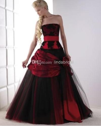 Newgothic Wedding Dress One Red Black Bridal Wedding Gown In
