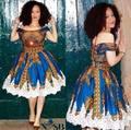 Леди Африки мода печатный платье женский классический батик хлопок короткий рукав платья женщин-вечернее платье
