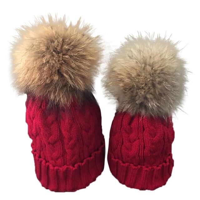 Mom And Baby Winter Crochet Hat Fur Wool Knit Warm cap winter hat bone Beanie hats for women winter hats for women pokemon caps