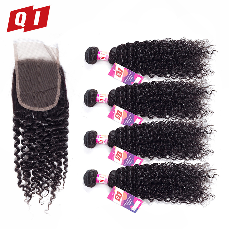 QI Hair 100 Non Remy Indian Kinky Curly 4 Bundles With 4 4 Lace Closure Human