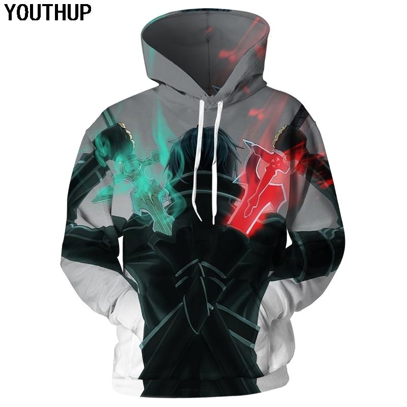 YOUTHUP Sword Art Online Hoodies For Men 3d Hoodies Anime Hooded Sweatshirts Men 3D Print Cartoon Men Coat 3d Pullover Tracksuit