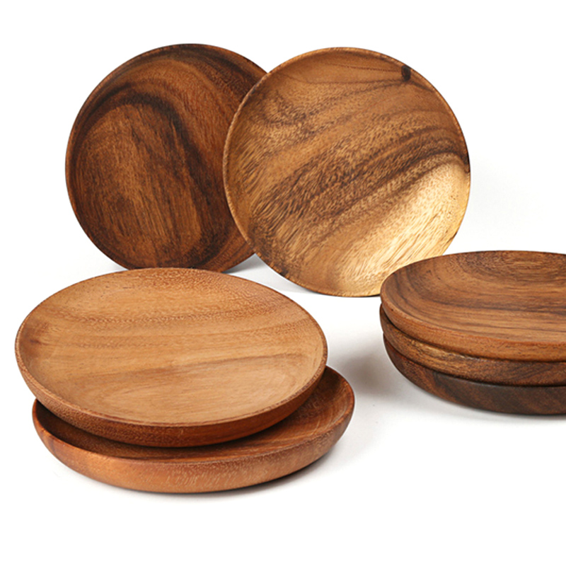 Round Wooden Plates High Quality Acacia Wood Serving Tray Cake Dishes Tableware Plate for Dessert Salad 2 Sizes Wood Utensils (8)