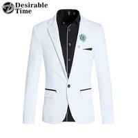 Men White Blazer Slim Fit 2016 Fashion Mens Black Casual Blazer Jacket One Button Mens Stage