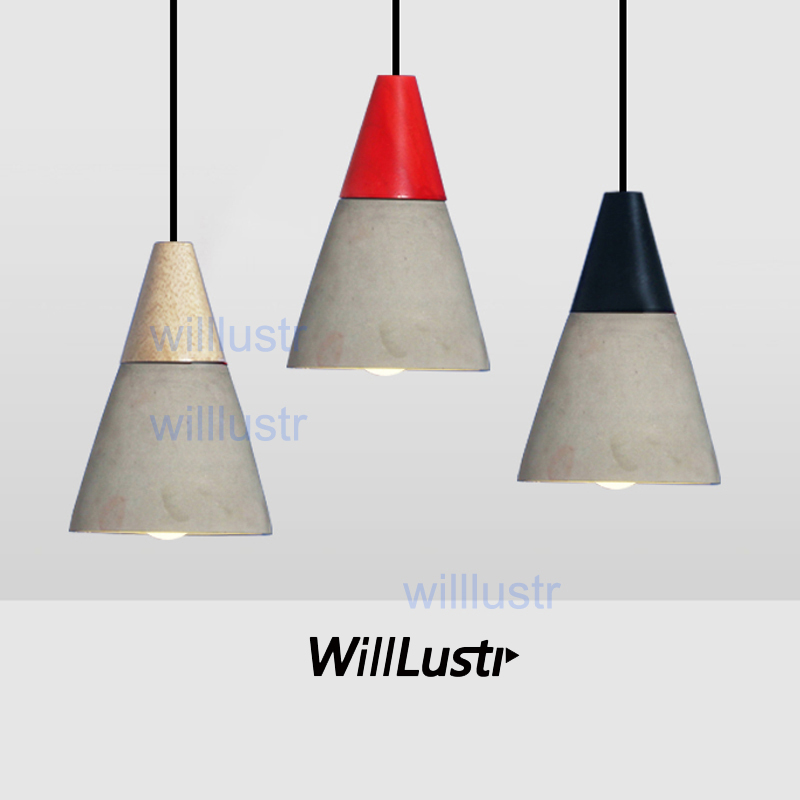 willlustr concrete pendant light natural wood cement suspension lamp design nordic hanging lighting dinning room restaurant cafe купить