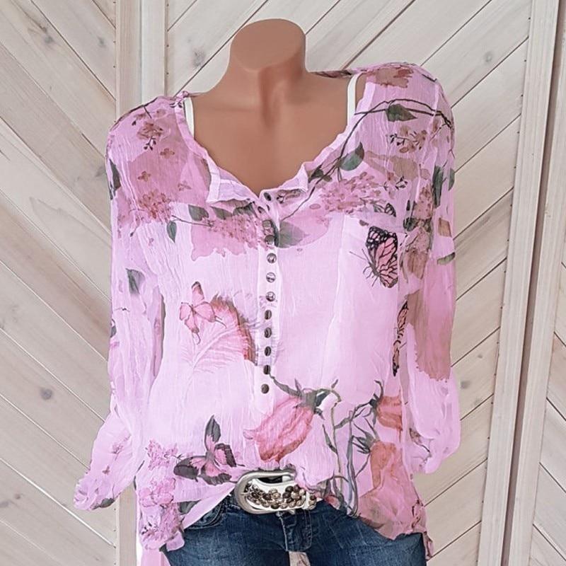 Button Women Shirts Autumn Casual V Neck Chiffon Blouse Women Top Camisa Feminina Long Sleeve Ladies