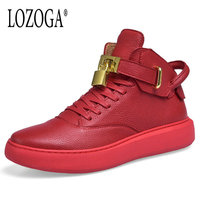 Lozoga 2018 New Men Boots Luxury Brand Designer Shoes Genuine Leather Mens Sneaker Lace Up Casual Boots With Lock Flat Handmade