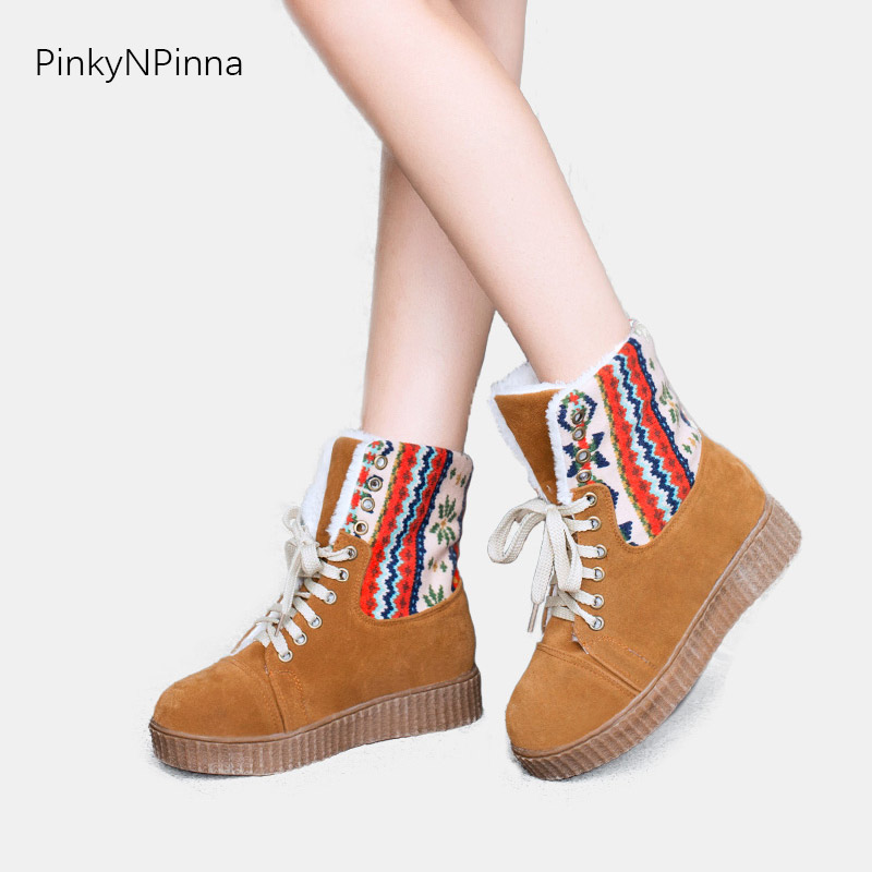 women 39 s snow boots Bohemian vintage style laced up flat floral plush inside warm comfortable non slippery winter ankle booties in Ankle Boots from Shoes