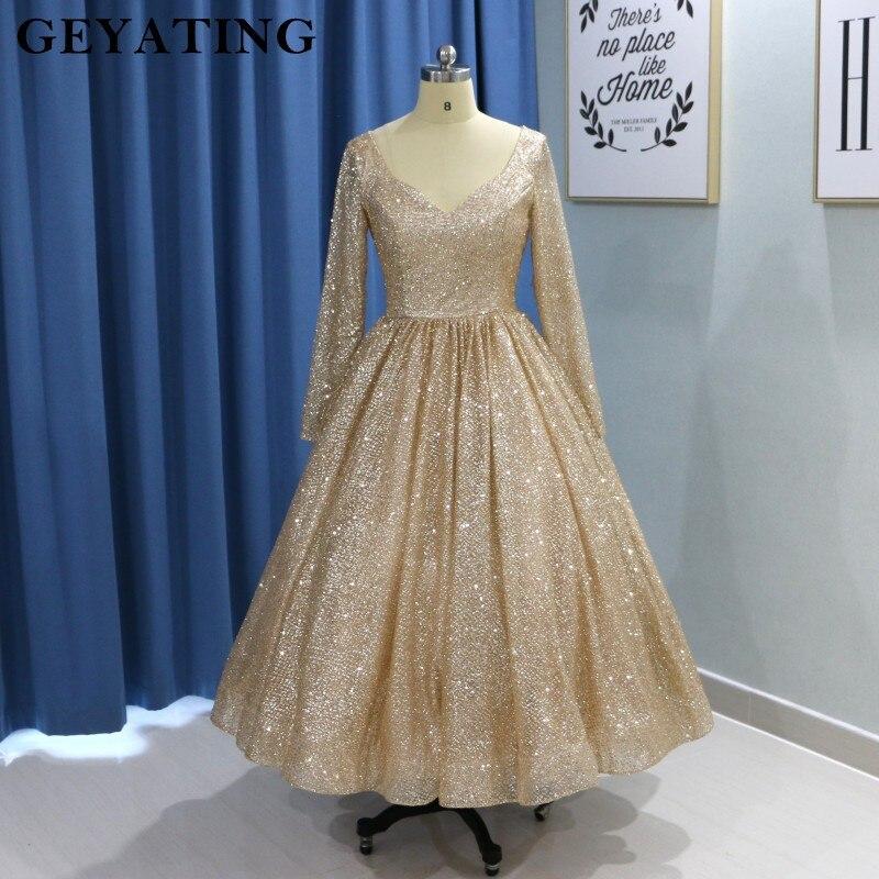 Vintage Gold Long Sleeve Prom Dresses 2019 Glitter Tea Length Ball Gown Party Dress Short Homecoming Dresses Vestido De Fiesta