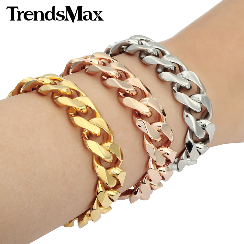 Trendsmax 14MM Wide Gold-color Stainless Steel Bracelet Cut Curb Cuban Link Fashion Mens Chain Jewelry KBM25