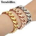 Trendsmax 14mm de largura pulseira de aço inoxidável banhado a ouro cut curb cubano ligação moda cadeia mens jóias kbm25