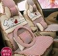 2016 meninas novas chegada bonito dos desenhos animados capa de almofada do assento de carro 5 pcs/set estilo de seda das mulheres de linho capas de almofada do assento de carro