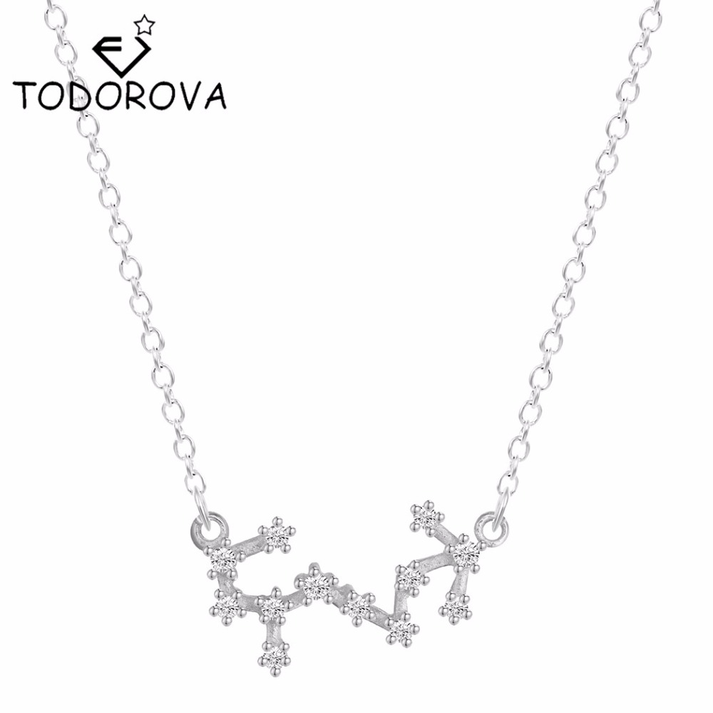 Todorova Real Pure 925 Sterling Silver Scorpio Statement Necklace Astrology Zodiac Necklace for Women Constellation Pendant