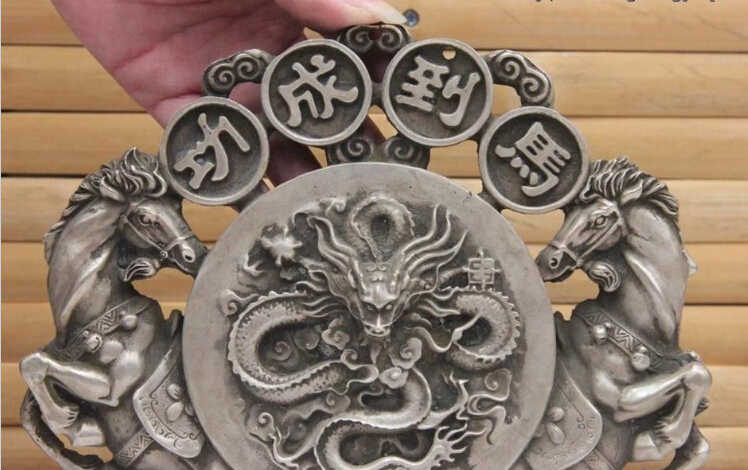 WBY 816++++++9 Royal Silver Dragon Horse Win Instant Success Silver Medal Wall Hanging Statue