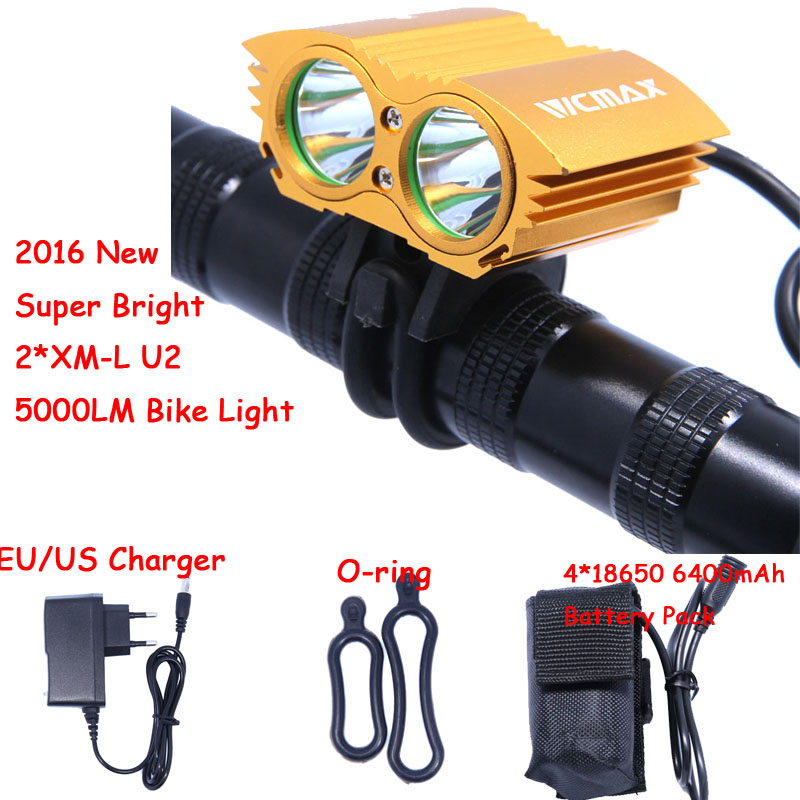 5000LM Waterproof 2 x XM-L U2 LED Bicycle Cycling Bike Light Lamp + 4*18650 or 6*18650 Battery Pack and Charger