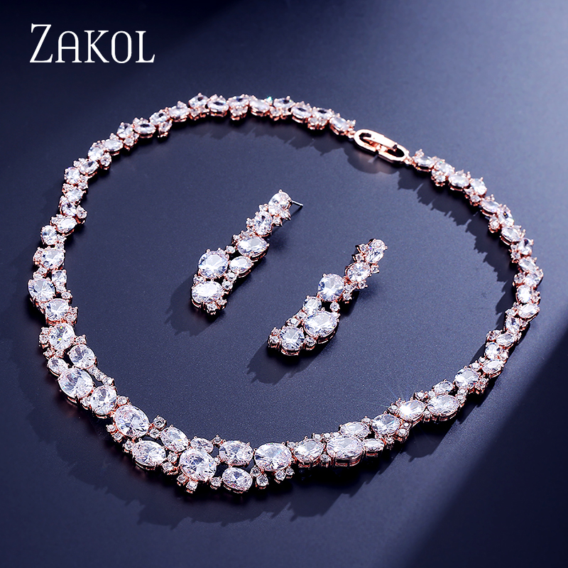 ZAKOL Best Quality Jewelry Set Dazzling Rose Gold Color Jewelry Oval Cubic Zircon Cluster Earring Necklace