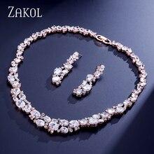 Zakol Best качество комплект ювелирных изделий ослепительно розового золота Цвет Jewelry овальные кубического циркония серьги кластера/Цепочки и ожерелья FSSP303