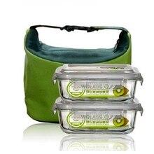 Neu 2 STÜCK Glas Lunchbox Nahrungsmittelbehälter Bento Mikrowelle Lunchbox Geschirr Sets Outdoor Picknick Lagerung Tragbare Geschirr