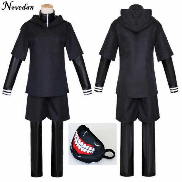 e0b1e6af9bc75 Japanese Anime Tokyo Ghoul Cosplay Costumes Kaneki Ken Cosplay Costumes  Hoodie Jackets Black Fight Uniform Full Set With Mask