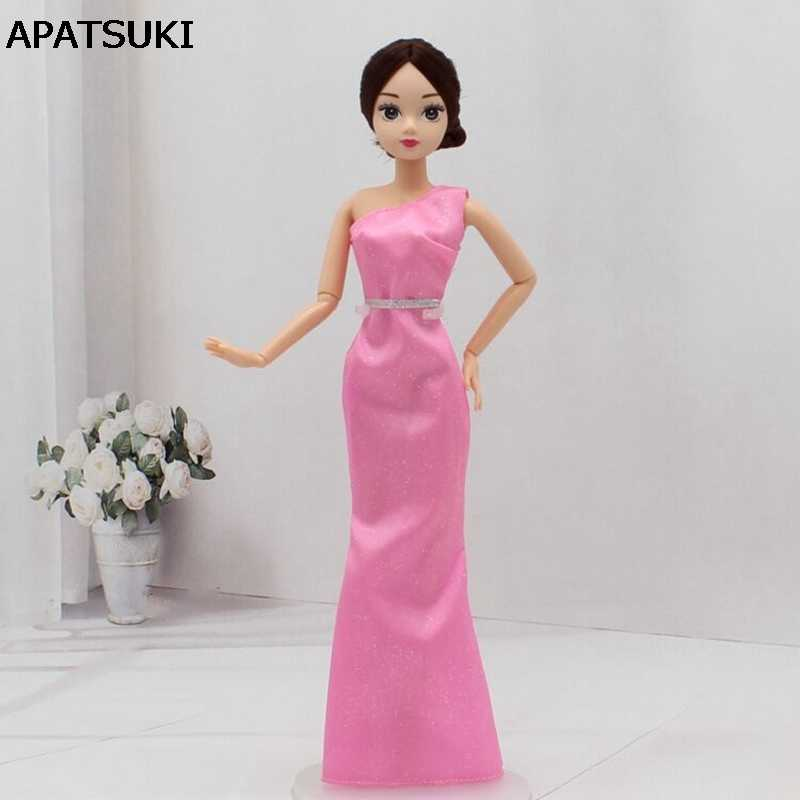Vestido De Fiesta Rosa Para Muñecas Barbie Sexy Una Pieza Vestido Largo Ropa Para Barbie Dollhouse 16 Vestidos De Princesa Accesorios De Muñeca