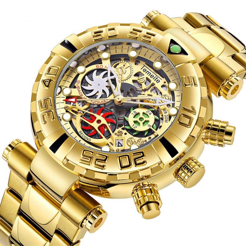 2019 Top Luxury Brand Wrist Watch Mens Sport Watches Whirlwind Full Steel Quartz Watch Chronograph Date Clock Relogio Masculino in Quartz Watches from Watches