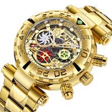 En lüks marka kol saati erkek spor saatler kasırga tam çelik quartz saat Chronograph tarih saat Relogio Masculino