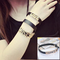 New 40cm 2 Lap Personalized letters that can adjust the position High-quality soft leather Bracelets For Women and Men