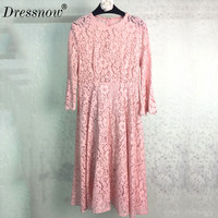 High Quality Lace Dress Runway Women Dresses Elegant Dress Lace Luxury Dress Pink