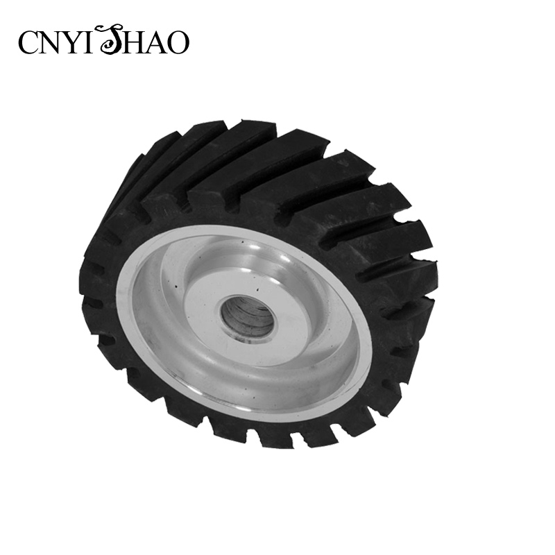 CNYISHAO 150*50/75/100mm Serrated Belt Sander Wheel Grooved Rubber Contact Wheel for Knife Polishing and Grinding цена