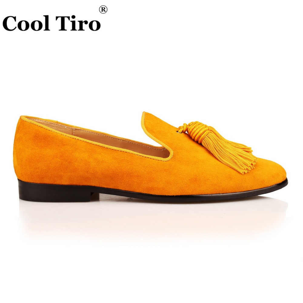 Cool Tiro Gold Suede Loafers Men Slip Slippers Silk Tassel Moccasins Man Casual Flats Men's Dress italian Leather Shoes Luxury