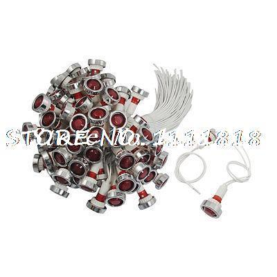 100 Pcs AC 220V 10mm Red Bulb Power Indicator Light Signal Lamp Pilot w Shell