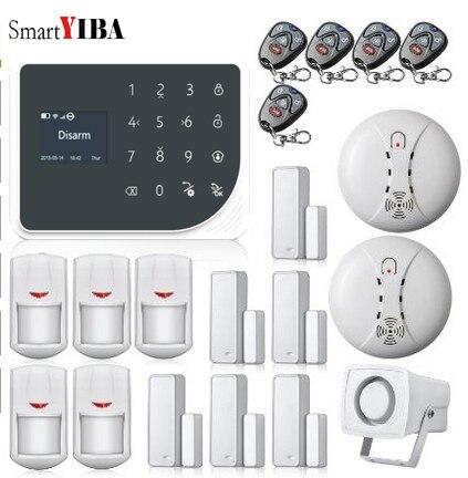 SmartYIBA Mutli Language Wireless GSM SMS WIFI Alarm System Motion Sensor Alarm Smoke Alarm Detector Horn Wireless Alarmes Kits