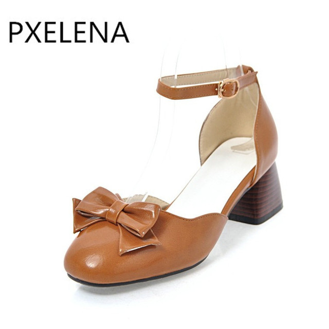 6f1aa609683a PXELENA Retro Women Casual Comfortable Sandals Chunky Block Med Heels  Sandals Ankle Strap Butterfly-knot Square Toe Shoes 34-43