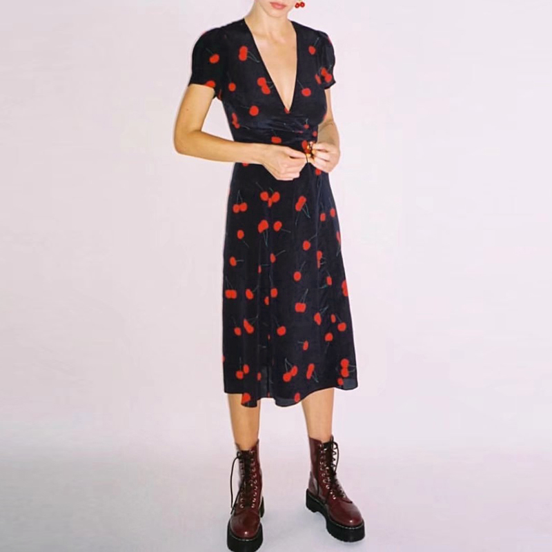Women Dress 2018 New Arrival Summer Fashion Casual V Neck Short Sleeve Print Midi Vintage Dress streetwear Vestidos
