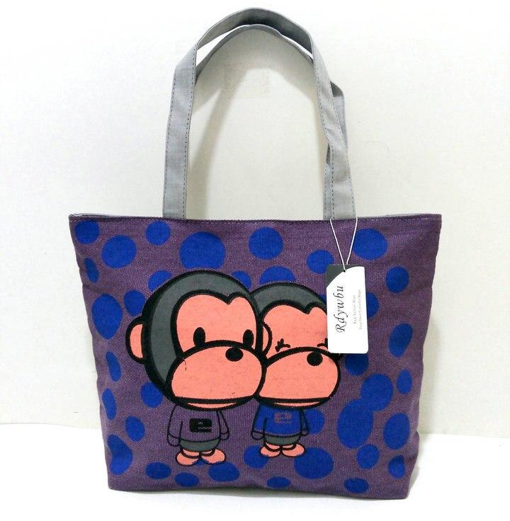 a33237dd2d76 ▽Rdywbu женская сумка Пейзаж печати обезьяна мультфильм канва ...