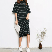 Summer Tshirt Dress Black and White Striped Dress Lady Turtleneck Short Sleeve Casual Loose Retro Straight Dress Free Shipping