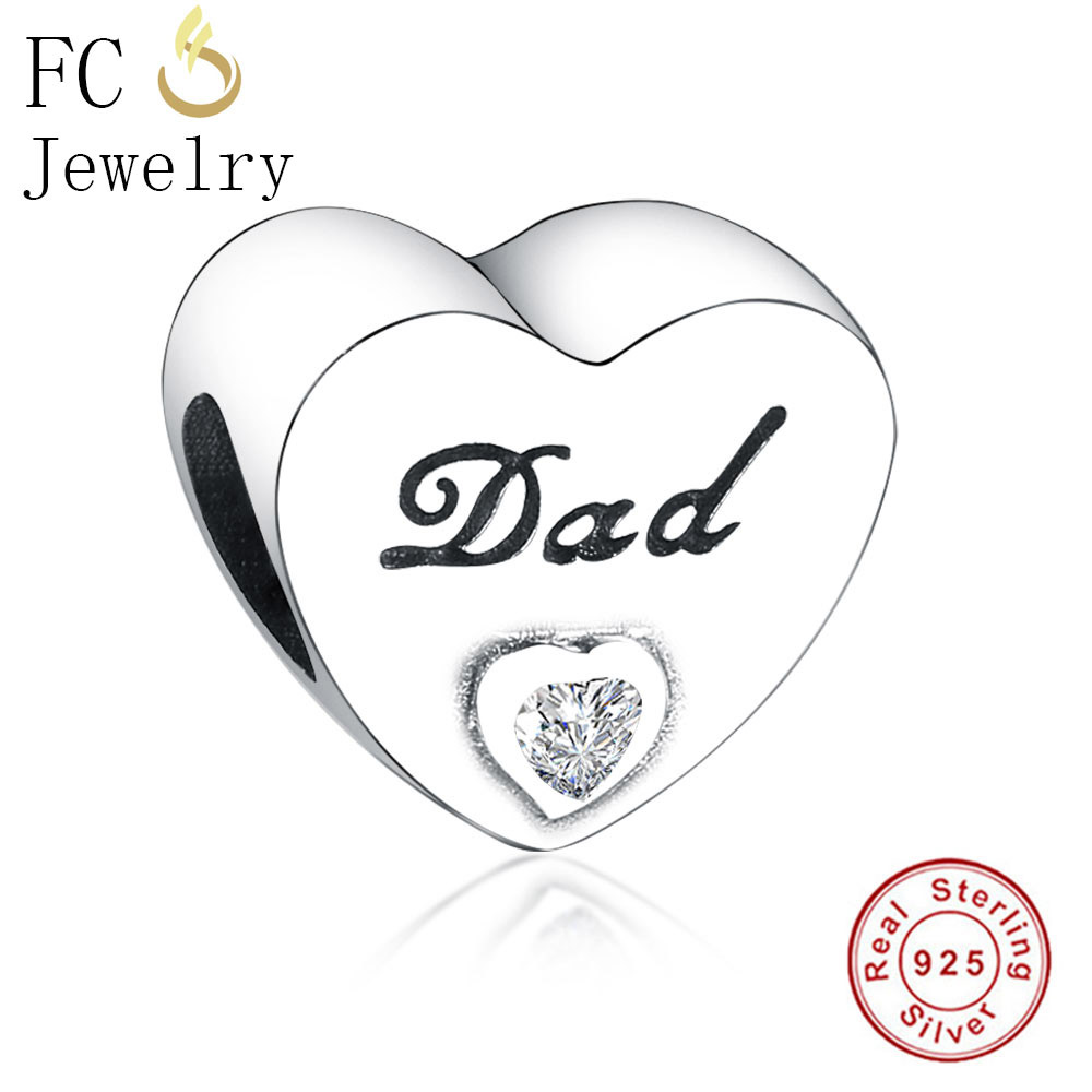 FC Jewelry Fit Original Pandora Charms Bracelet Essence 925 Silver Letter Dad CZ Love Heart Beads for DIY Making Father Berloque chic letter heart pattern decorated bracelet for women