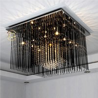 60cm Square Crystal Hanging Stainless Steel Pieces Ceiling Light Free Shipping Silver Luxury Living Room Hotal