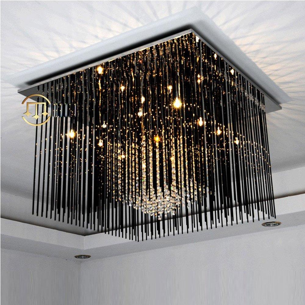 Black Crystal Living Room Ceiling Lamp Square Stainless Steel Top Luxury Hotel Lobby Bedroom Ceiling Lighting Fixture
