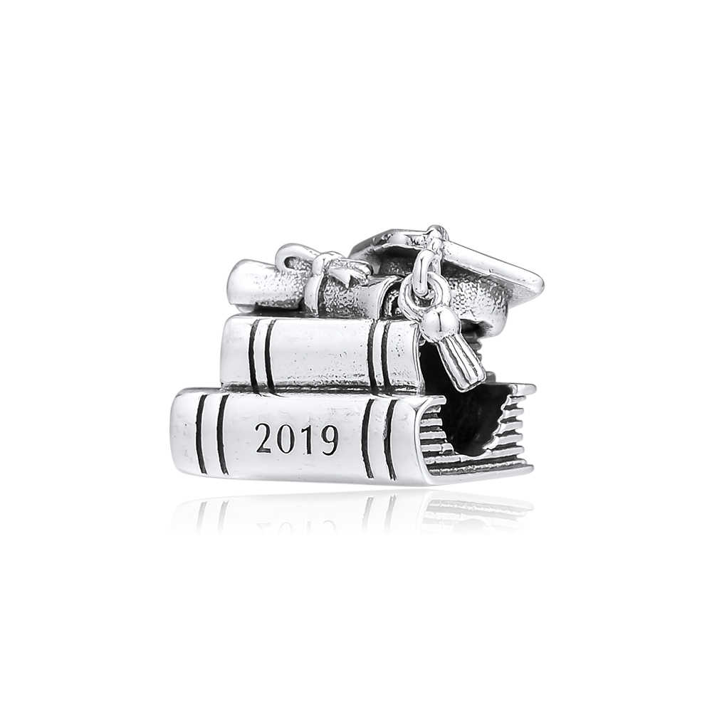 CKK Bead Charm Sterling Silver 925 Charms Jewelry Original Cap, Book & Scroll Beads Fits Pandora Bracelet Jewelry Making