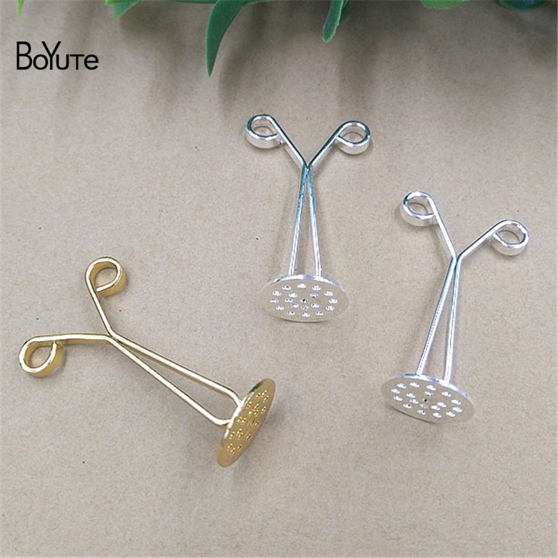 BoYuTe 20 Pieces 3 Colors Metal Brass Filigree 12MM Hair Clip Base Setting Diy Hand Made Jewelry Findings Components